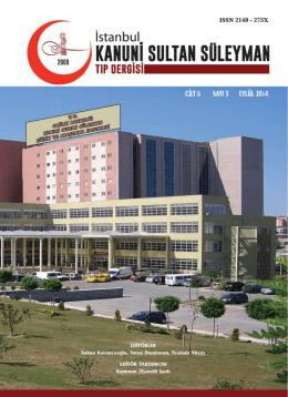 Eylül 2014, Cilt 6, Sayı 3 - İstanbul Kanuni Sultan Süleyman EAH