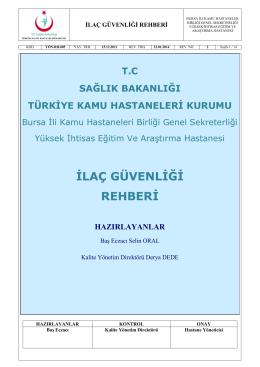 İlaç Güvenliği Rehberi - Bursa Yüksek İhtisas Eğt.ve Araştırma