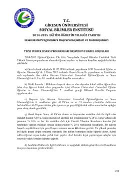 T.C. GİRESUN ÜNİVERSİTESİ SOSYAL BİLİMLER ENSTİTÜSÜ