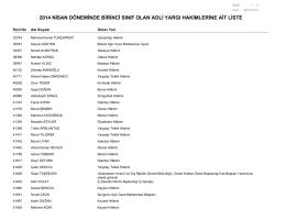 2014 nisan döneminde birinci sınıf olan adli yargı hakimlerine ait liste