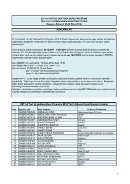 2211-A Yurt İçi doktora Burs Programı 2014 Yılı 2. Dönem