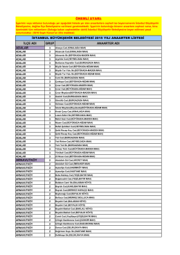 2015 Yılı Ana Arter Listesi - İstanbul Büyükşehir Belediyesi