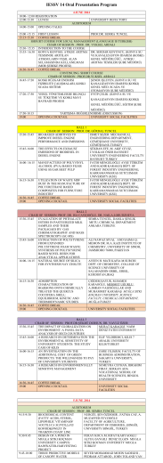 IESSV 14 Oral Presentation Program