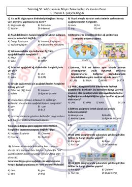 Bilişim Teknolojileri ve Yazılım Dersi II. Çalışma Kağıdı Cevapsız