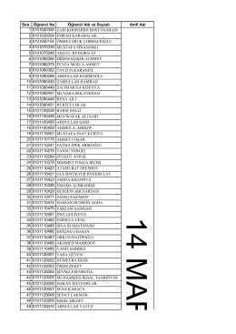 Sıra Öğrenci No Öğrenci Adı ve Soyadı Amfi Adı 1 0101020326