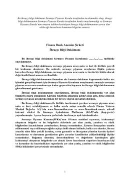 Finansbank İhraçcı Bilgi Dokümanı (Taslak) Eylül 2014