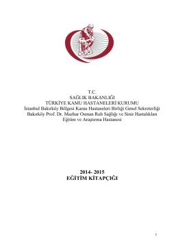 2014- 2015 eğitim kitapçığı - Bakırköy Ruh ve Sinir Hastalıkları
