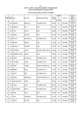 uygulamalı sınav sonuç listesi adalet komisyonu başkanlığı konya