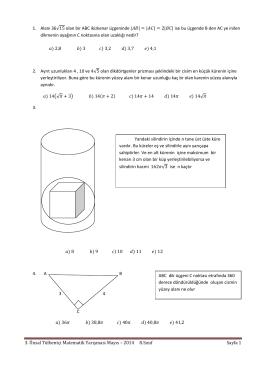 3. Ünsal Tülbentçi Matematik Yarışması Mayıs – 2014 8.Sınıf Sayfa 1