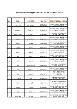 izmir cumhuriyet başsavcılığı 2015 yılı uzlaştırmacı listesi