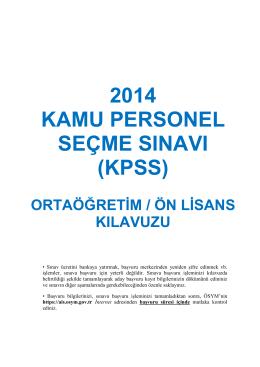 2014 KAMU PERSONEL SEÇME SINAVI (KPSS)