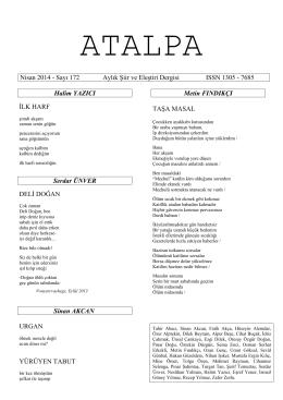 Nisan 2014 - Sayı 172 Aylık Şiir ve Eleştiri Dergisi ISSN