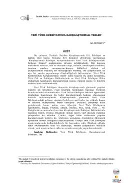 Yeni Türk Edebiyatında Karşılaştırmalı Tezler