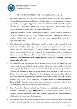 Staj Uygulama Esasları - KMÜ Mühendislik Fakültesi