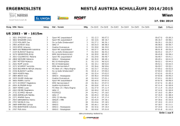 Wien ERGEBNISLISTE NESTLÉ AUSTRIA SCHULLÄUFE 2014/2015
