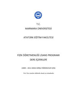 tc marmara üniversitesi atatürk eğitim fakültesi fizik öğretmenliği