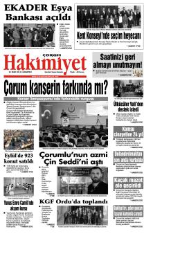 25 ekim.qxd - Çorum Hakimiyet Gazetesi