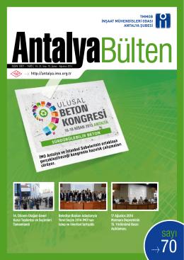 İMO Antalya Bülten 70. Sayısına pdf formatında ulaşabilmek için
