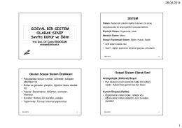 Sosyal Sistem Olarak Sınıf