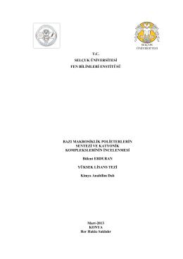 tc selçuk üniversitesi fen bilimleri enstitüsü bazı makrosiklik