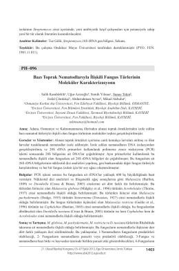 PH–096 Bazı Toprak Nematodlarıyla İlişkili Fungus Türlerinin
