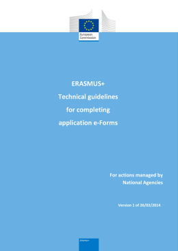 ERASMUS+ Technical guidelines for completing
