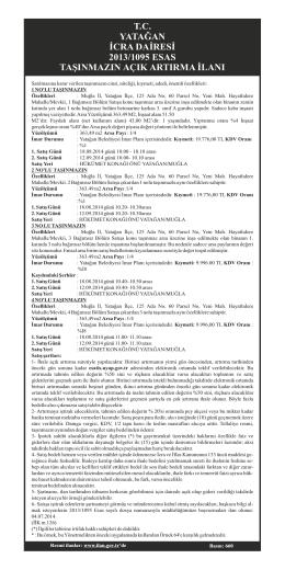 tc yatağan icra dairesi 2013/1095 esas taşınmazın açık artırma ilanı