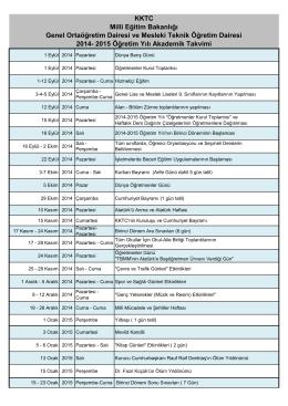 2014 – 2015 Akademik Takvim PDF - KKTC Milli Eğitim, Gençlik ve