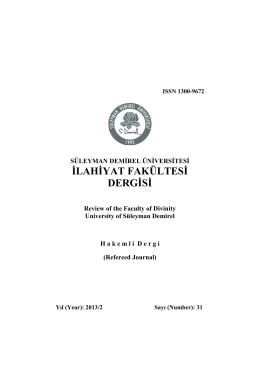 İLAHİYAT FAKÜLTESİ DERGİSİ - Süleyman Demirel Üniversitesi