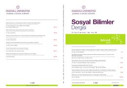 2014-1(mart sayısı)kapak-v11 - Anadolu Üniversitesi Sosyal Bilimler