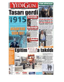 Tasarı gerdi - Yedigün Gazetesi