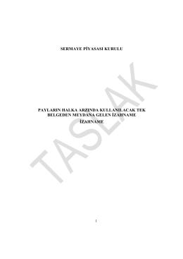2014 yılı Sermaye Artırımı Taslak İzahname(Henüz SPK tarafından