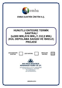 HUNUTLU ENTEGRE TERMİK SANTRALİ 2x(600 MWe/616 MWm