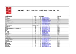 38th YAPI - TURKEYBUILD İSTANBUL 2015 EXHIBITOR LIST