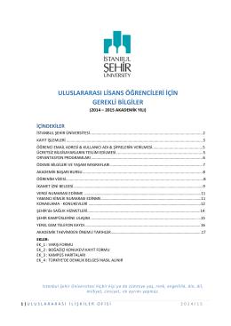 uluslararası lisans öğrencileri için gerekli bilgiler