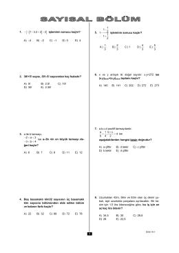 1. 1 3.2 3 2 - - - + - işleminin sonucu kaçtır? A) –4 B) –2 C) –1 D) 0 E
