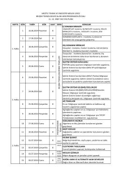Bilişim Teknolojileri Alanı Web Programcılığı Dalı 11.12. Sınıf Yaz