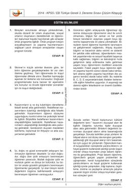 2014 - KPSS / EB Türkiye Geneli 3. Deneme Sınavı Çözüm Kitapçığı
