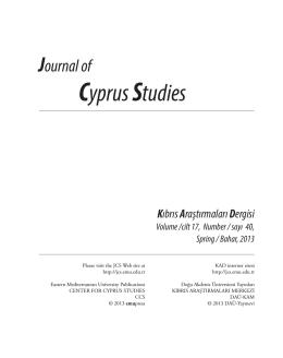 Cyprus Studies - Yakın Doğu Üniversitesi