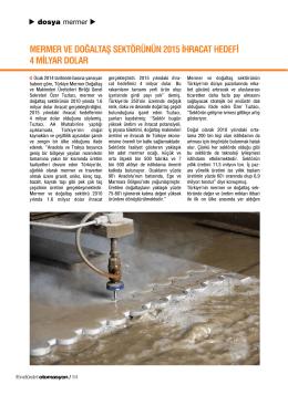 mermer ve doğaltaş sektörünün 2015 ihracat hedefi 4