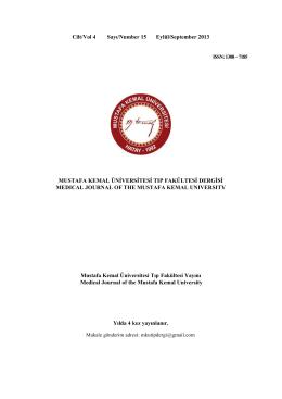 Sayı 15 - Mustafa Kemal Üniversitesi