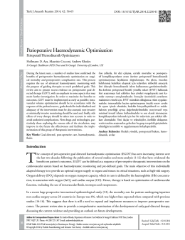 Perioperative Haemodynamic Optimisation