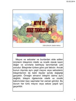 Meyve-Sebze Teknolojisi I