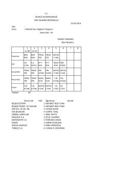 Sayı : Konu : Haftalık Ders Dağıtım Programı 1 11.30 2 12.15 3 4 5 6