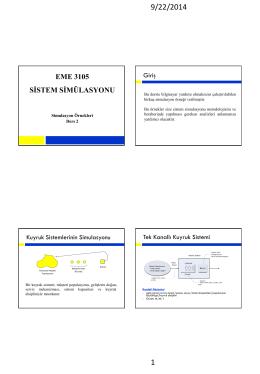 Simulasyon Örnekleri-I (Bir Kuyruk Sistemi Simulasyonu)