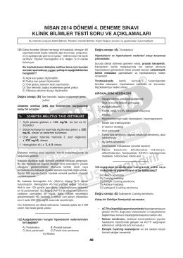 nisan 2014 dönemi 4. deneme sınavı klinik bilimler testi soru ve
