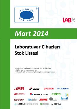 Mart 2014 Laboratuvar Cihazları Stok Listesi