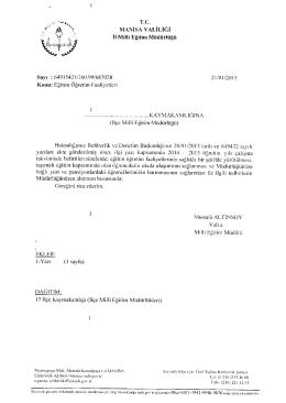 Yazı için tıklayınız - Alaşehir İlçe Milli Eğitim Müdürlüğü