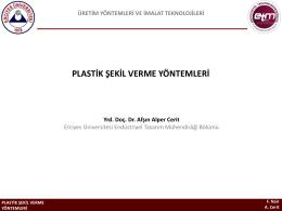 plastik şekil verme yöntemleri
