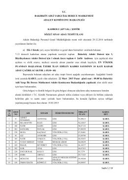 kadrolu şoför aday tespit listesi ilanı 18.02.2015